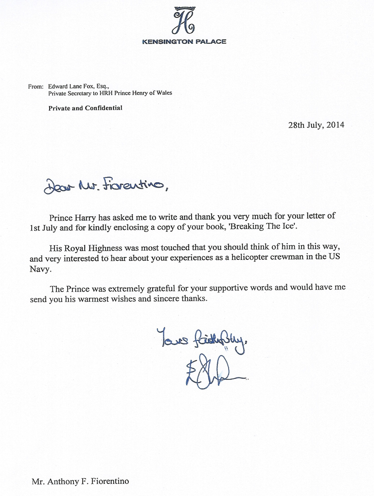 Letter from Prince Harry